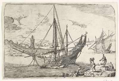 Image from object titled Bark voor anker bij de haven van Messina; Gezichten van de haven van Messina