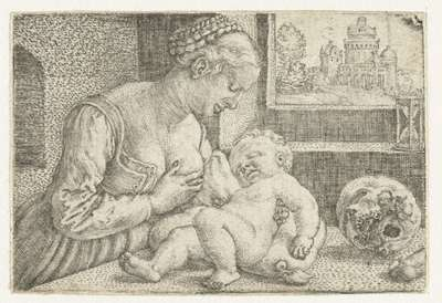Image from object titled Maria met kind aan borst en schedel