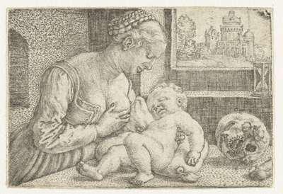 Maria met kind aan borst en schedel