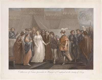 Catherine van Valois en koning Hendrik V van Engeland; Catharine of France presented to Henry V. of England, at the treaty of Troy
