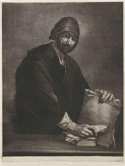 Filosoof met boek en schriftrol; Filosofen naar Spaanse voorbeelden