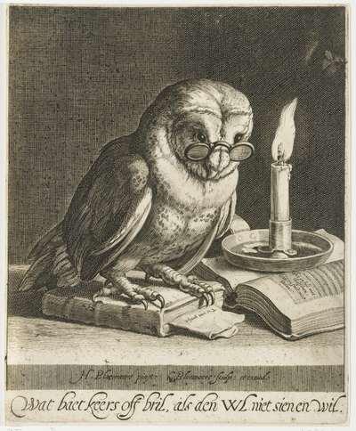Uil met bril en boeken
