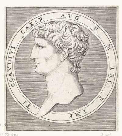 Portret van keizer Claudius I in ronde omlijsting; TI CLAUDIUS CAESAR AUG P M TRI P IMP; Romeinse keizers