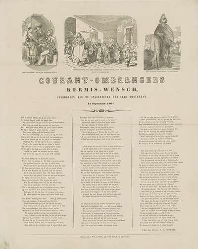 Kermisprent van de Amsterdamse courantombrengers voor het jaar 1864; Courant-ombrengers Kermis-Wensch (...) 1864