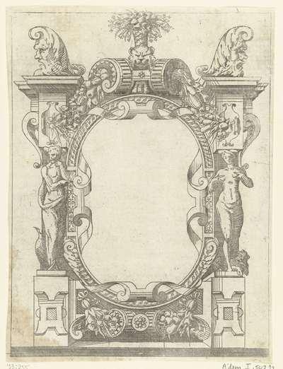 Ovale cartouche in een omlijsting van rolwerk met guirlandes van vruchten; Plafonds en cartouches in een omlijsting van rolwerk met grotesken, guirlandes en mascarons; Kleine cartouche naar voorbeeld te Fontainebleau