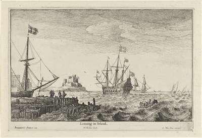 Schepen voor de kust van Ierland; Louuing in Irland; Riviergezichten en kustgezichten