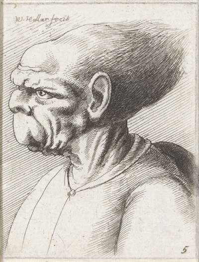Misvormde mannenkop; Varie figurae et probae; Karikaturen, koppen en misvormingen naar Leonardo da Vinci