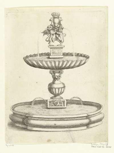 Fontein met schelpvormig bassin op balustervormige stam; Fontaines Et Iets D'Eau (...)