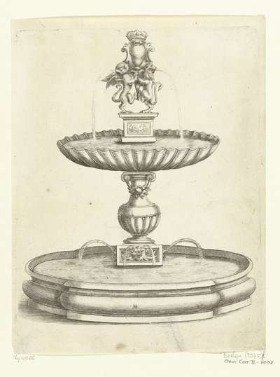 Image from object titled Fontein met schelpvormig bassin op balustervormige stam; Fontaines Et Iets D'Eau (...)