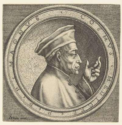 Portret van Cosimo I de' Medici; Vier portretten naar Italiaanse penningen uit de Renaissance