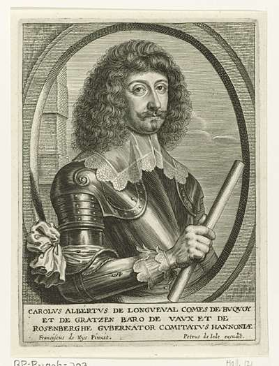 Busteportret van Karel Albert de Longueval; Theatrum pontificum, imperatorum, regum, ducum (...)