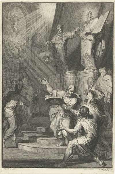 Aäron en de gesluierde Mozes presenteren de Israelieten de tafelen der wet; Titelpagina voor David Martin, Historie des Ouden en Nieuwen Testaments, 1700