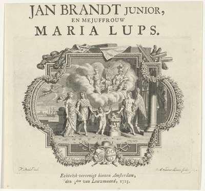 Allegorie op het huwelijk; Huwelijksaankondiging van Jan Brandt junior en Maria Lups