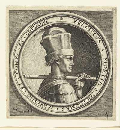 Portret van Francesco Sforza; Vier portretten naar Italiaanse penningen uit de Renaissance