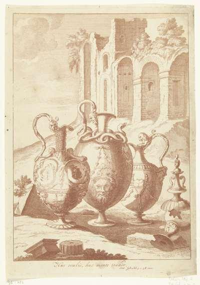 Vier vazen, de vierde gebroken; Huc oculis, huc mente trahor; Vazen en kandelaars
