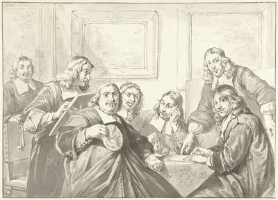 De overlieden van het Sint Lucasgilde te Haarlem, 1675.