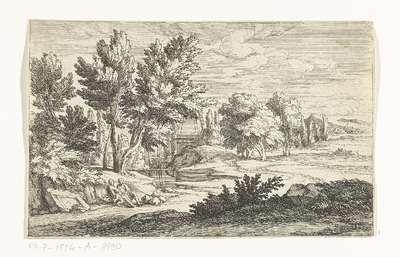 Landschap met grafmonument