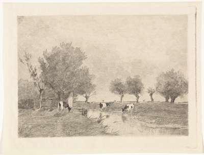 Landschap met drie koeien bij een sloot