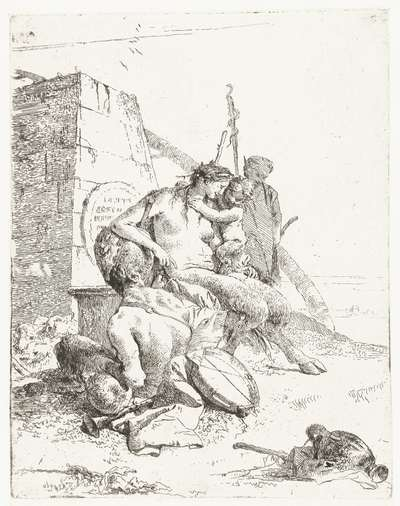 Satyr Family with Musical Instruments Sitting by a Monument