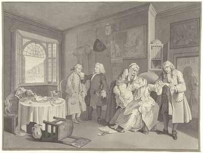 Het sterven van de weduwe, haar latende een onecht kindj (...); Le mariage à la Mode