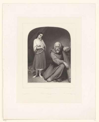 Meisje met oude monnik met harp; Mignon et son père