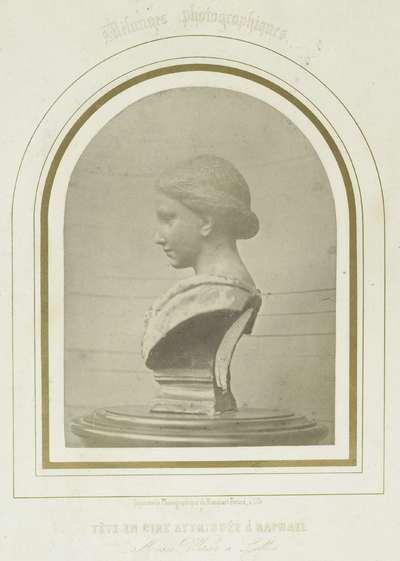 Gebeeldhouwde vrouwenkop uit was; Tête en cire attribuée à Raphael. Musée Wicar à Lille
