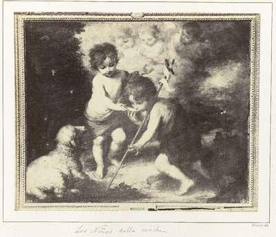 Fotoreproductie van een schilderij door Bartolomé Esteban Murillo, voorstellend twee kinderen met een schelp en een lam