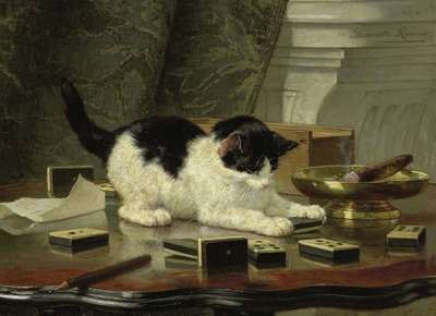 Image from object titled The cat at play