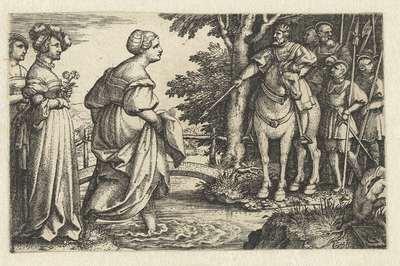 Koningin van Seba vereert hout van brug
