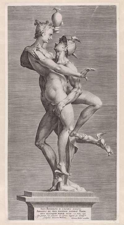 Mercurius en Psyche: zijaanzicht met de zijde van Psyche; Mercurius en Psyche
