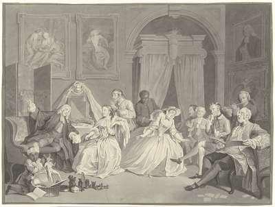 Verbeeld het buytenspoorig gedrag der geestelijke koppelaar (...) (...); Le mariage à la Mode