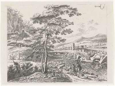 Landschap met een pelgrim en een herder