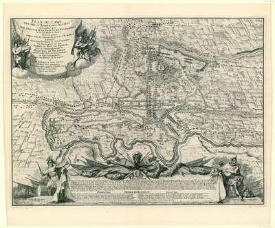 Kaart met de posities van de geallieerde en de Franse troepen West-Vlaanderen in juni en juli 1695.; Plan du Camp, que prit l'Armée des Alliés, commandée par son Altesse Mr. Le Prince de Vaudemont le 30e du Mois Juin à...