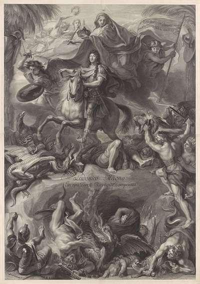Allegorisch ruiterportret van Lodewijk XIV, koning van Frankrijk