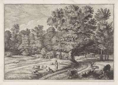 Landschap met herders in een bos; Landschappen naar Jacques d'Arthois