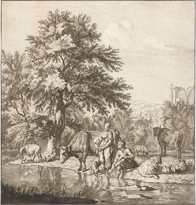 Herder en herderin met kudde bij een rivier; Prentwerk