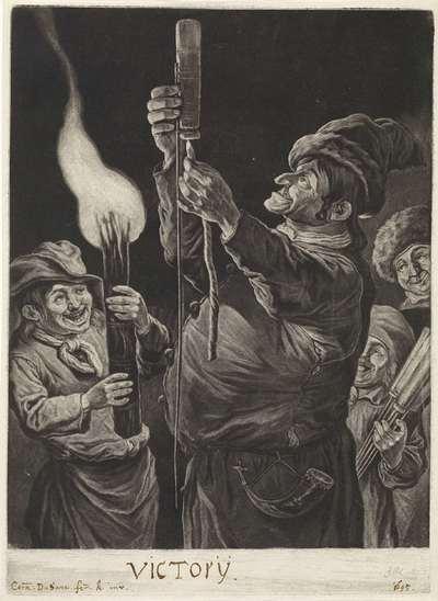 De man met een vuurpijl, met toeschouwers, 1695; De algemene blijdschap om de inname van Namen door stadhouder Willem III, koning van Engeland, september 1695