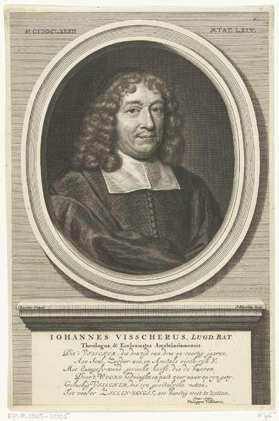 Portret van Johannes Visscher op 64-jarige leeftijd; Iohannes Visscherus