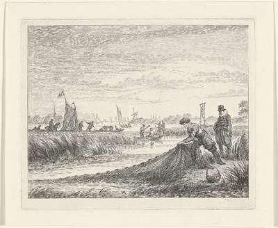 Rivierlandschap met boten nabij Amstelveen, 1624; Amstelveen, Ao 1624; Noord-Hollandse landschappen
