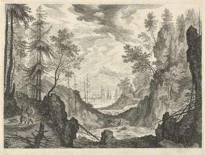 Boslandschap met een waterval; Berglandschappen uit Tirol