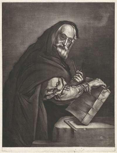 Filosoof met een passer en een boek; Filosofen naar Spaanse voorbeelden