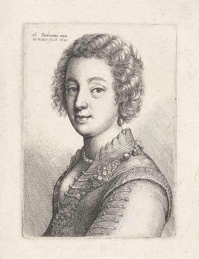 Portret van jonge vrouw met kort krullend haar