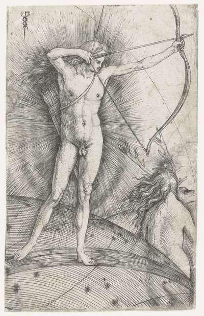 Apollo met pijl en boog op hemelglobe en Diana met hert