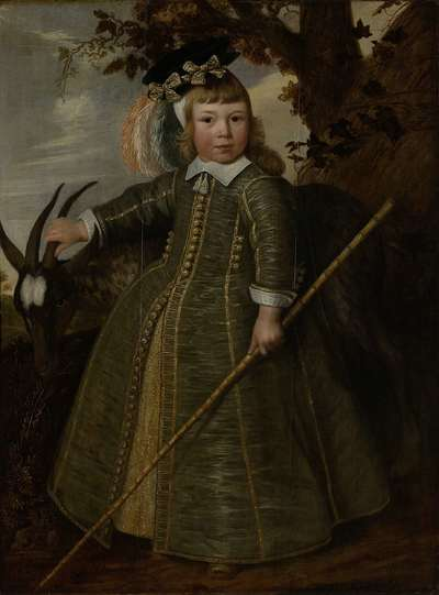 Image from object titled Portrait of a boy with a billygoat
