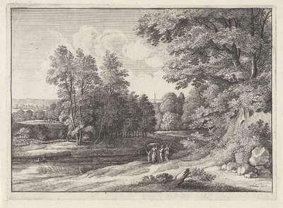 Landschap met figuren bij een meertje; Landschappen naar Jacques d'Arthois