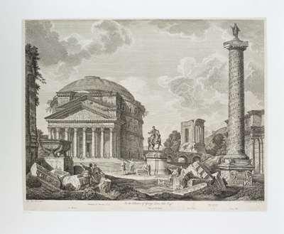 Pantheon, ruiterstandbeeld van M. Aurelius, Sibylle-tempel en Trajanuszuil