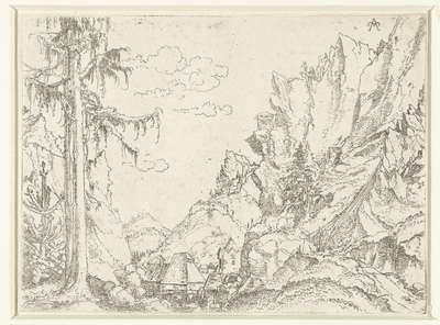Landschap met een dorp in rotsachtige vallei