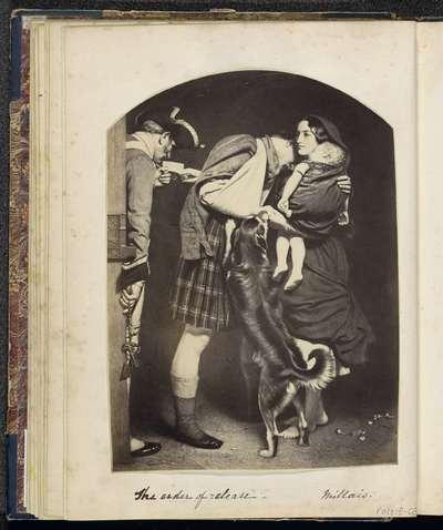 Fotoreproductie van (vermoedelijk) een prent naar een schilderij van Millais; The order of release. Millais.