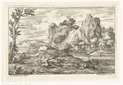 Landschap met grote rots bij een rivier
