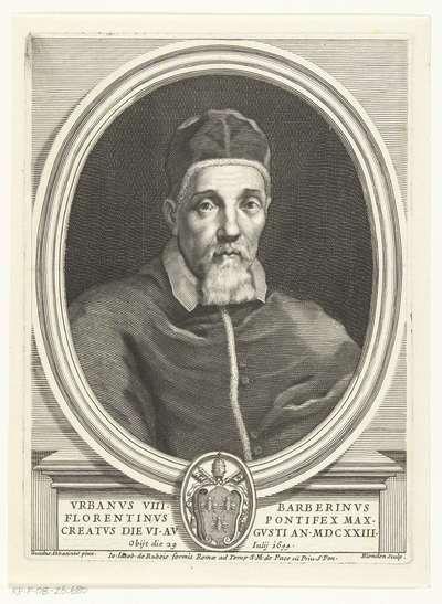 Portret van Paus Urbanus VIII; Vrbanvs VIII Barberinvs Florentinvs pontifex maxcreatvs die VI avgusti an MDCXXIII